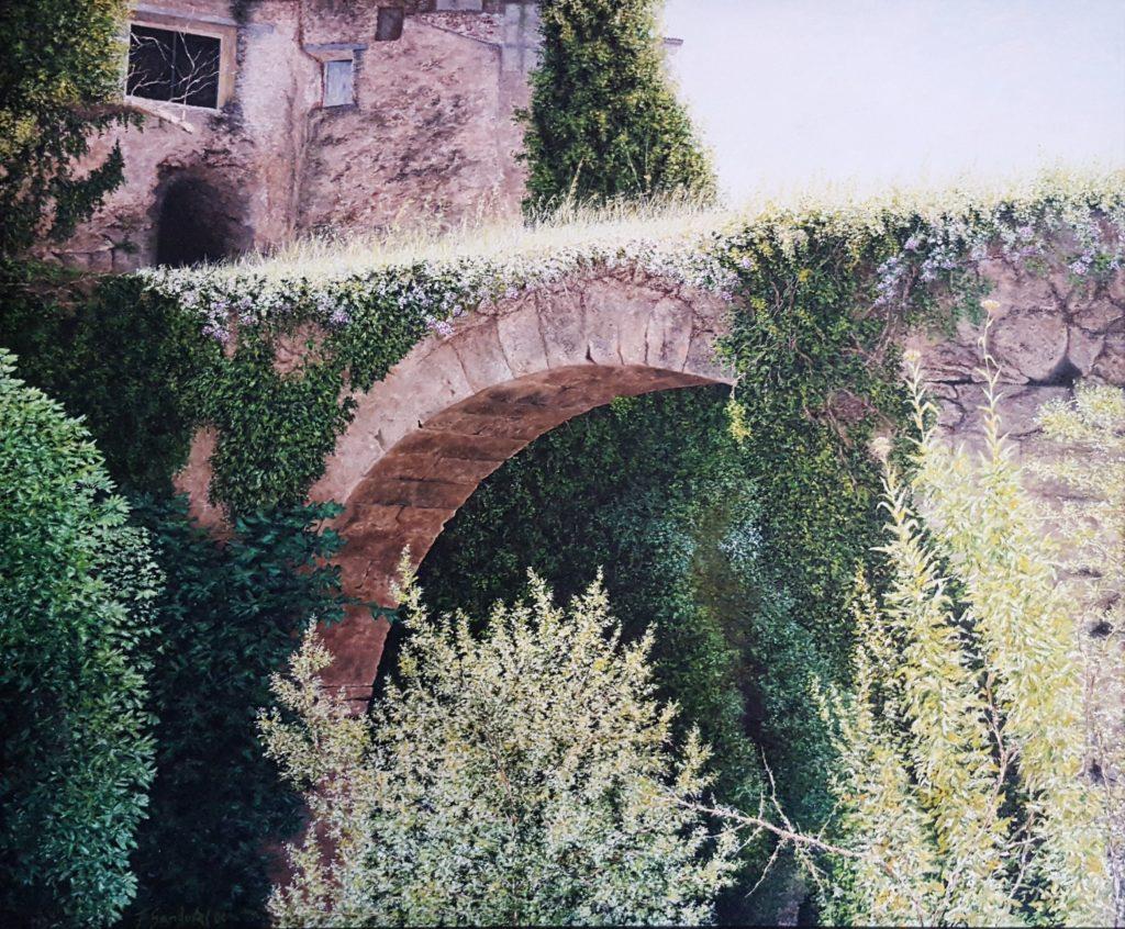 Situado en la Sierra del Segura, Albacete. Del arco de los molinos destaca los verdes y la luz que incide en la parte superior del lienzo con su vegetación.