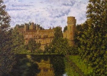 En la pintura se pretende destacar el reflejo de este famoso Castillo de Warwick sobre el agua así como el cielo nuboso con las nubes algodonadas.