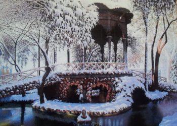 Templete de los Jardinillos característico de Albacete, donde destaca los reflejos del agua cristalizada por el hielo y la luz que penetra en los árboles.