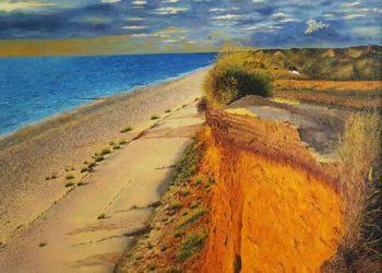 Este lienzo destaca por los colores amarillos y rojizos al incidir el solen el llamado Acantilado Rojo, situado en la Isla de Sylt, en Alemania.