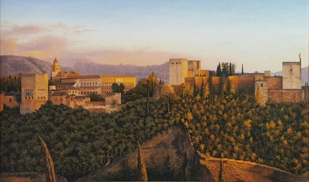 Óleo espectacular de la vista de la Alhambra de Granada desde el mirados de San Nicolas, donde se refleja en su mayor expresión los colores ocres y rojizos.