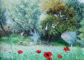 Encinas en primavera sobre las que incide el sol, dando vitalidad y alegría a la pintura, acompañada de esas amapolas entre restos de cebada.