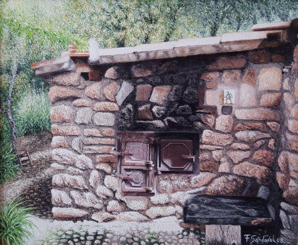 Lienzo que representa a un horno de leña situado en el cortijo Arroyo Coladillos en Cotillas, enplena sierra del Segura.