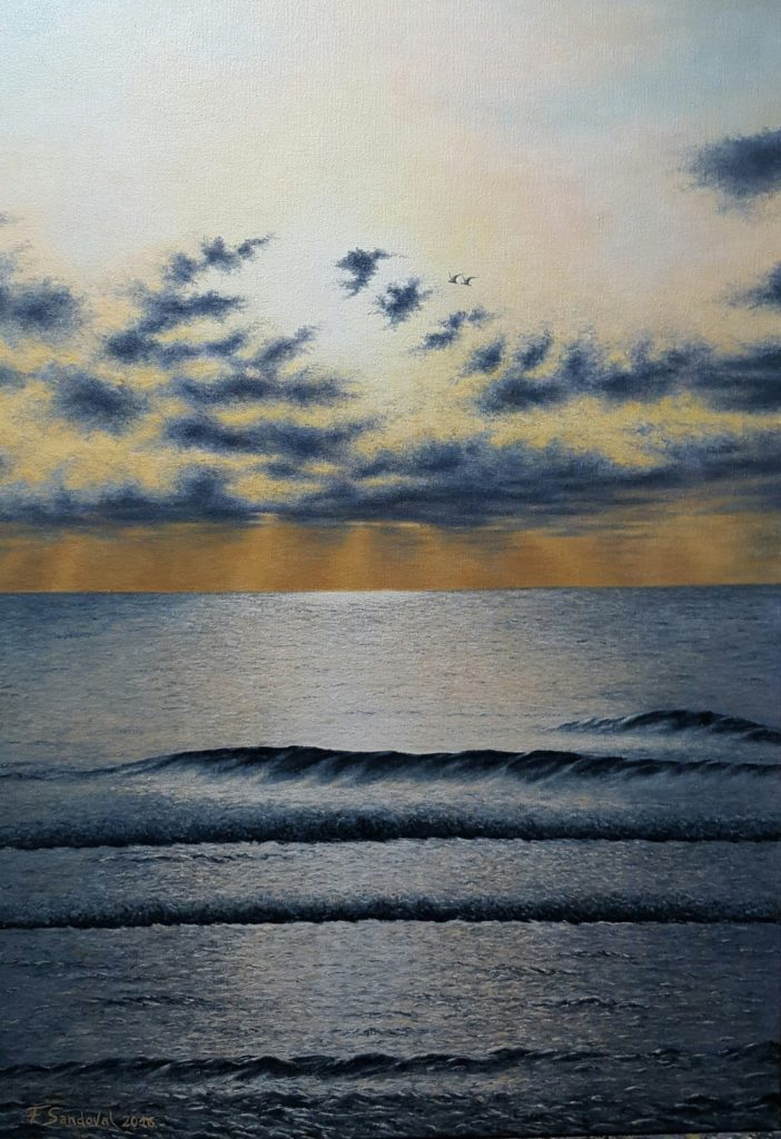 Pintura al óleo de este amanecer en la playa de Carabassí, donde el sol se cuela por cada rendija para iluminar el mar de una manera deslumbrante.