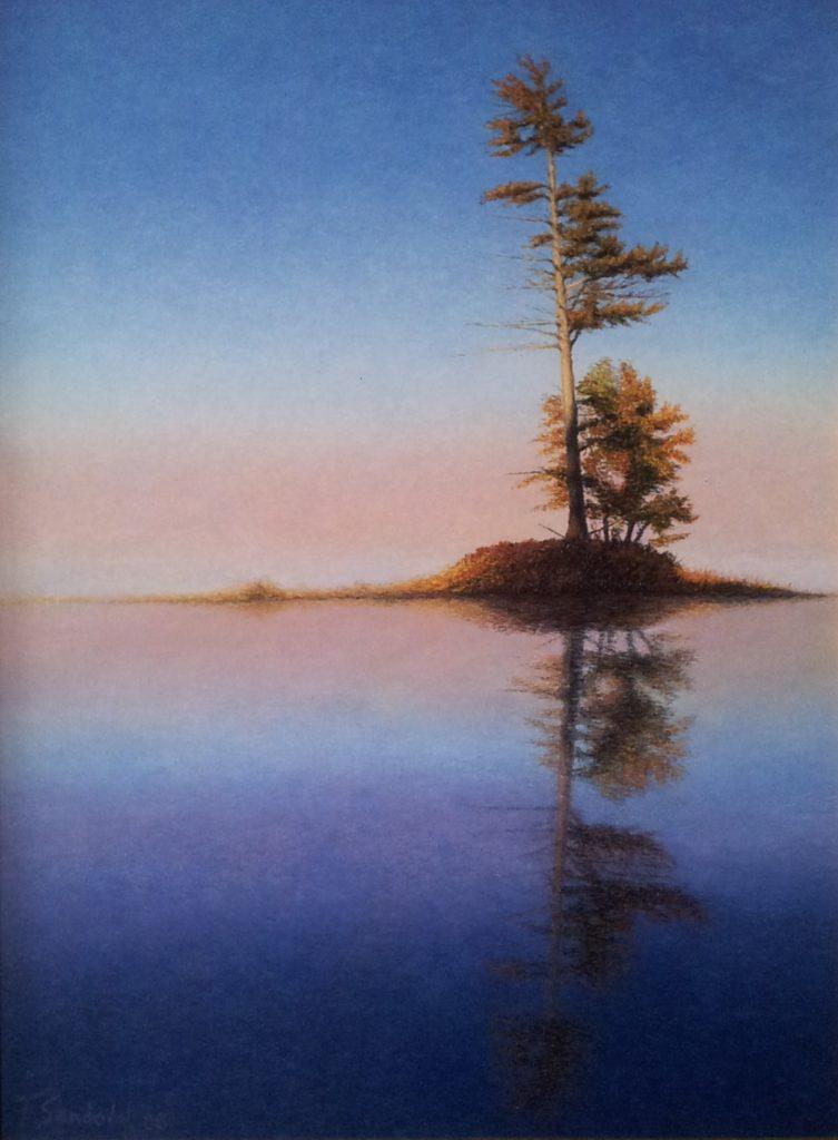 Conífera en el lago situada sobre un islote en un lago del norte de Europa, con esos azules y tenues colores rojizos y amarillentos durante el otoño.