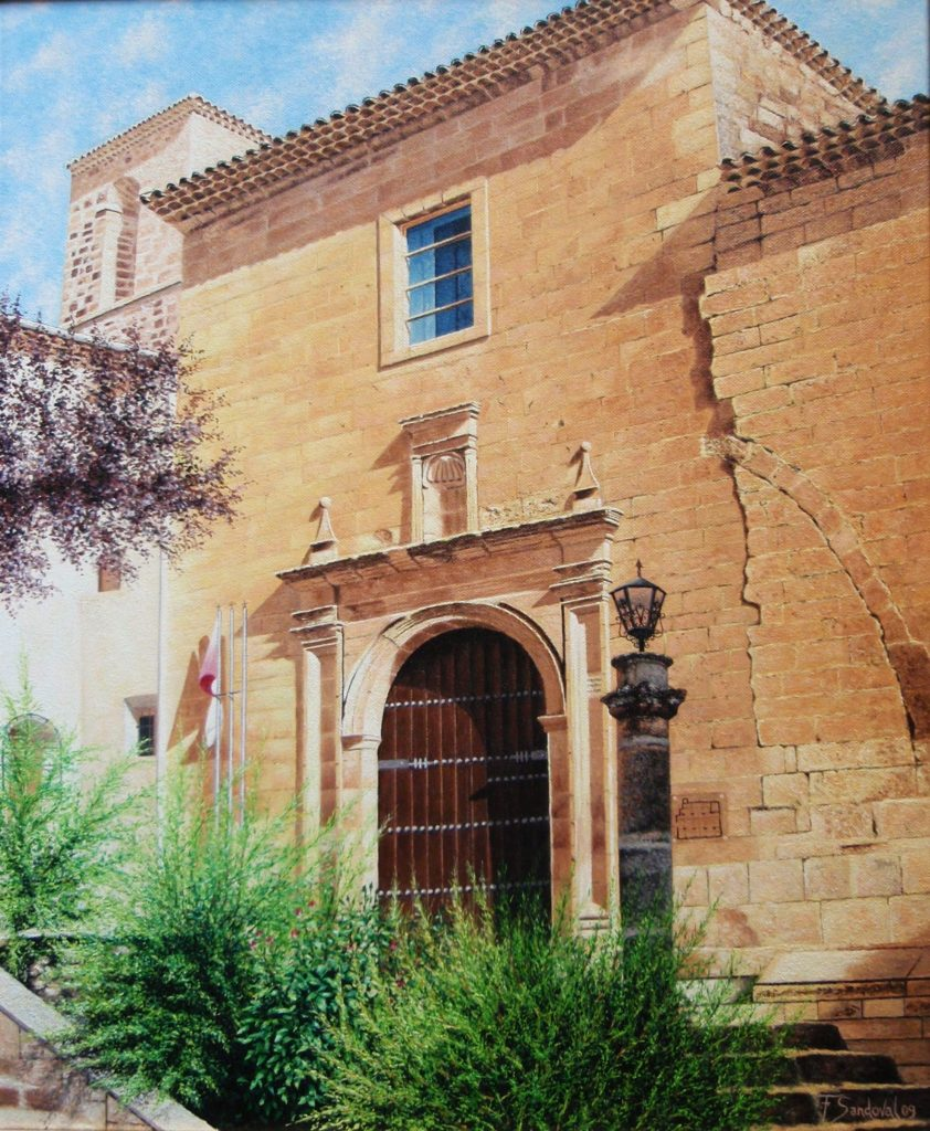 Iglesia de San Miguel, fundada en 1227 en Alcaraz (Albacete). Reseñar la puerta principal y sus muros agrietados produciendo el efecto de las sombras.