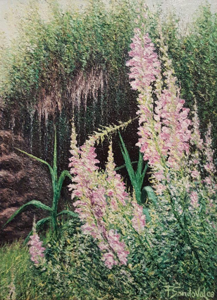 Este lienzo de orquídeas silvestres comunes en la zona de la Sierra del Segura en Albacete, con esas tonalidades rosadas-violetas.