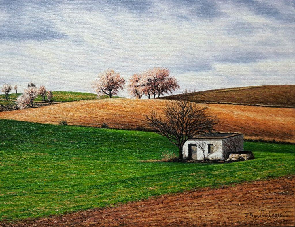 Campo manchego, uno de los paisajes más típicos que se contemplan en La Mancha, con las típicas tierras marrones-rojizas, almendros y su casita de labranza.
