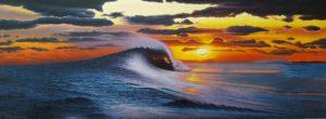 Atardecer en el mundo azul es un lienzo donde cobra mucha fuerza los reflejos del mar y el sol en su ocaso, consiguiendo una luminosidad con mucha fuerza.