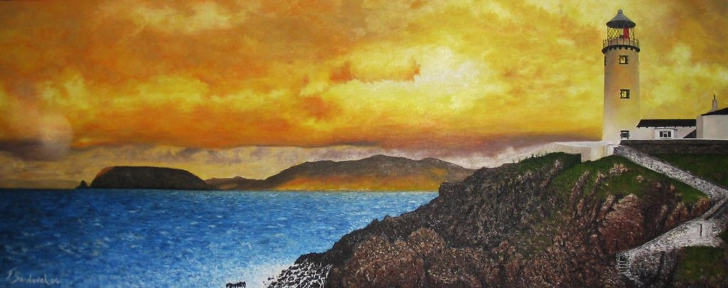 Faro de Fanad-Head en la península de dicho nombre en Donegal – Irlanda. Al contemplar el lienzo destacan los colores amarillentos y rojizos del cielo.